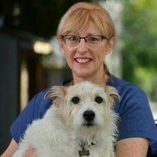 Jill Whitfield holding a dog