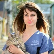 Victoria Dickson Registered Veterinary Technician holding a cat