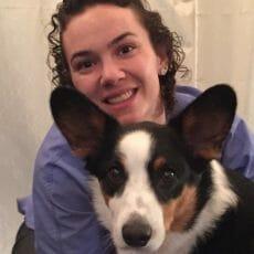 Dr. Leah Kahn with a dog