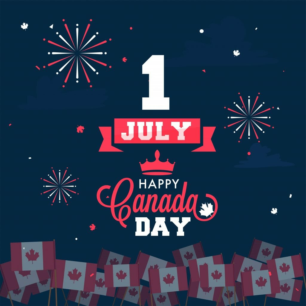July 1 happy canada day poster with fireworks and canada flags