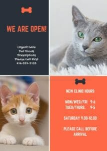 We are open poster with new clinic hours